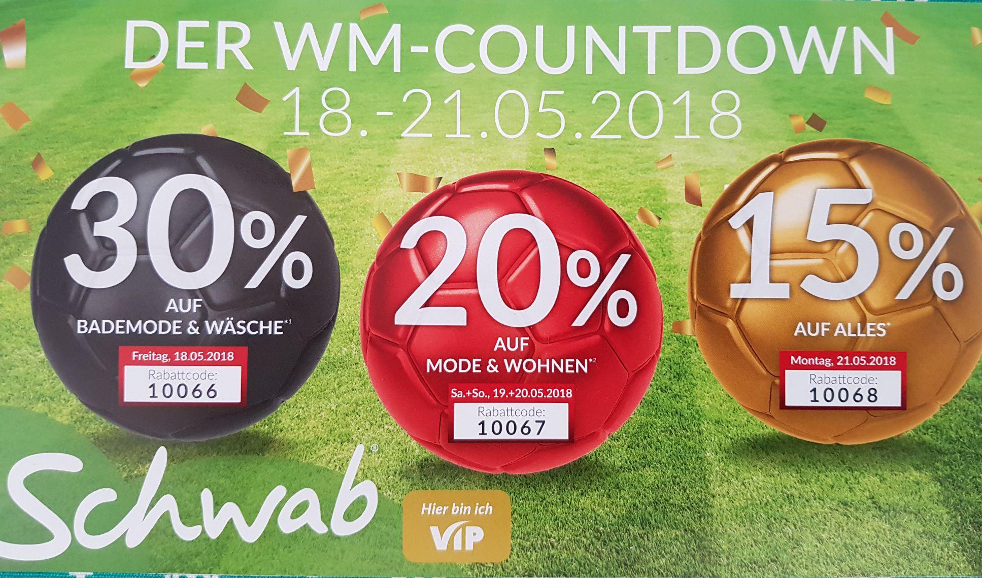 Schwab (ausgewählte Kunden): 15%  auf alles, auch Technik, am 21.5.
