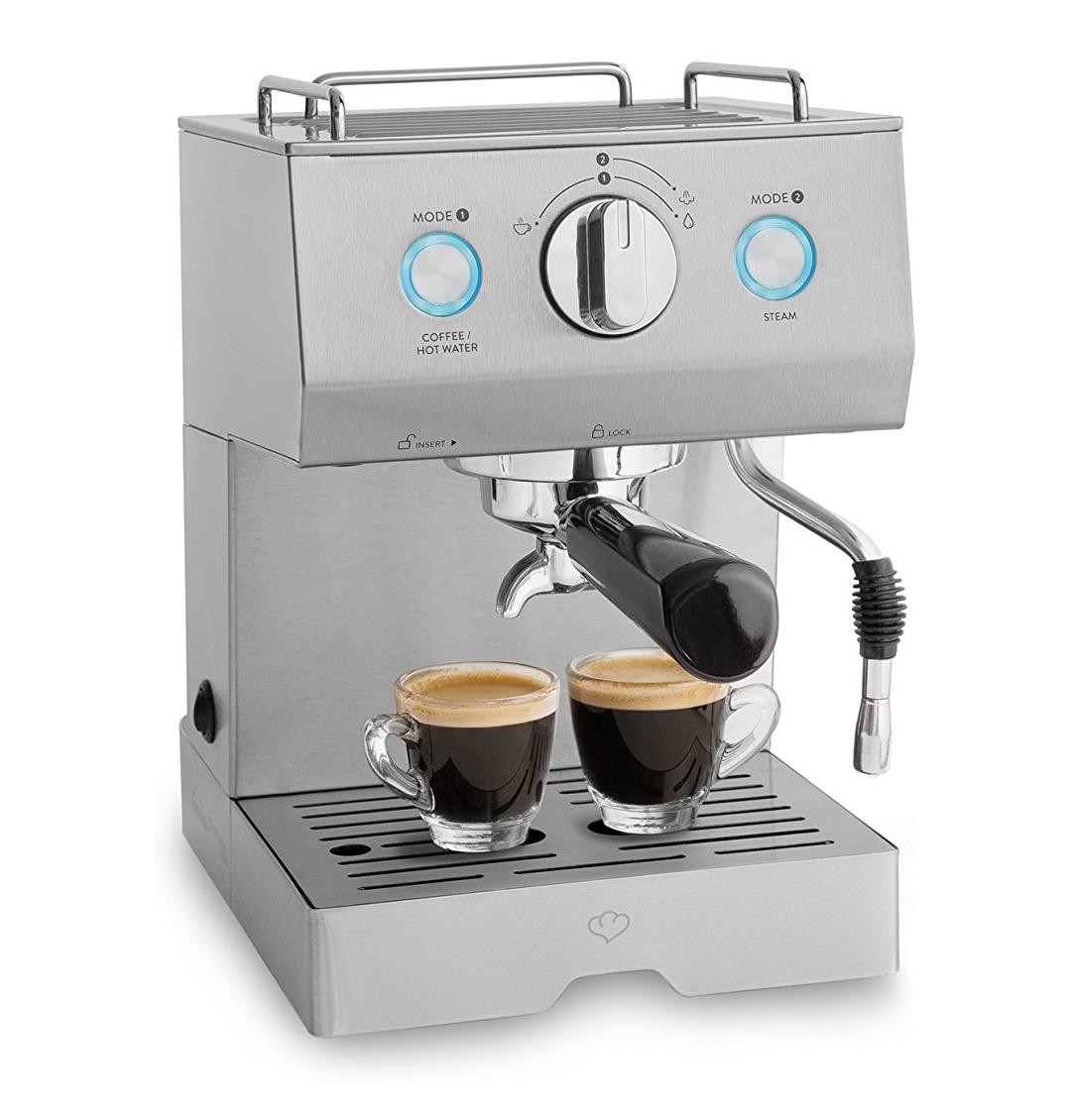 [Amazon] Springlane Emilia 1140W, Siebträger-Espressomaschine, Kaffeemaschine inkl. Milchaufschäumer Funktion und Tamper, 15 bar