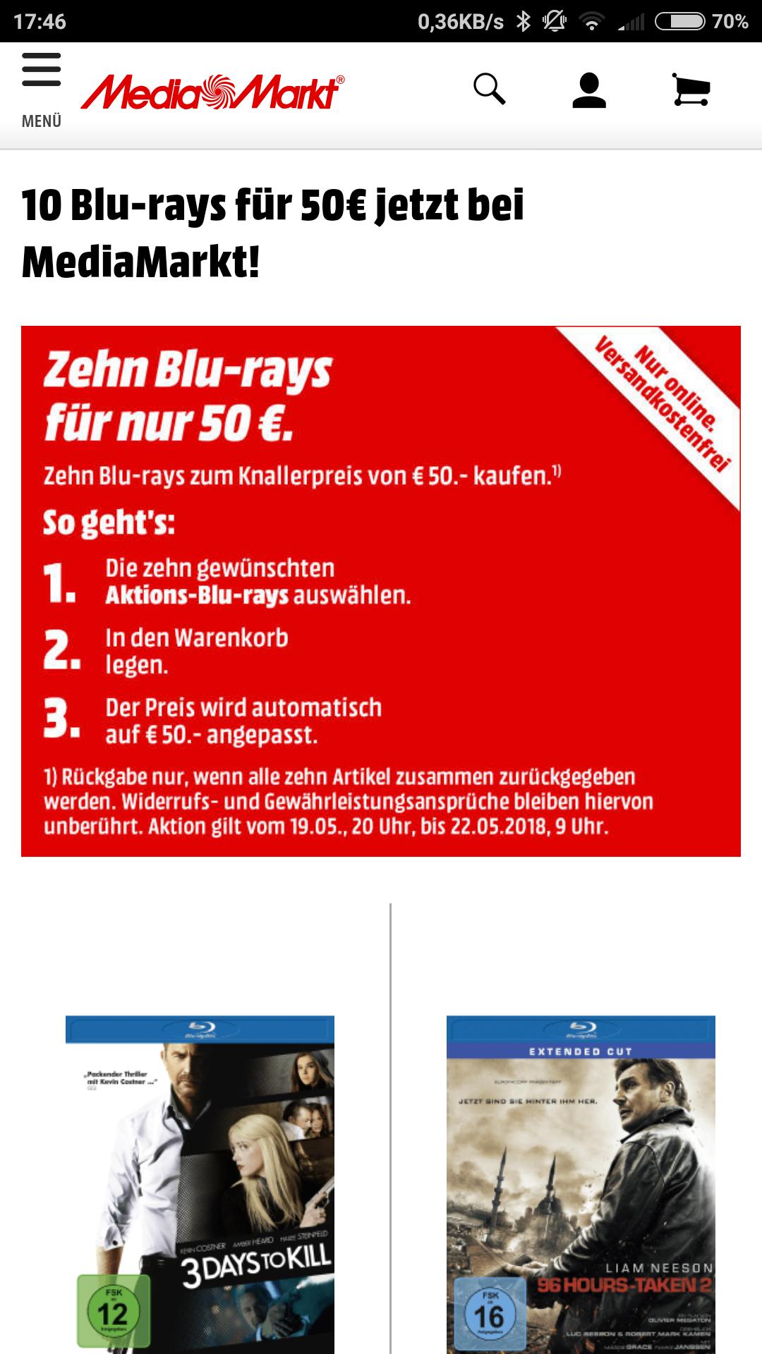 [ Media Markt] 10 Blu-rays für 50€