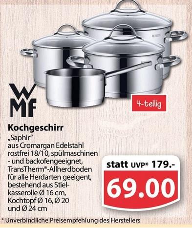 (Famila Nordwest/offline) WMF Saphir Topfset, 4-teilig für 69 Euro