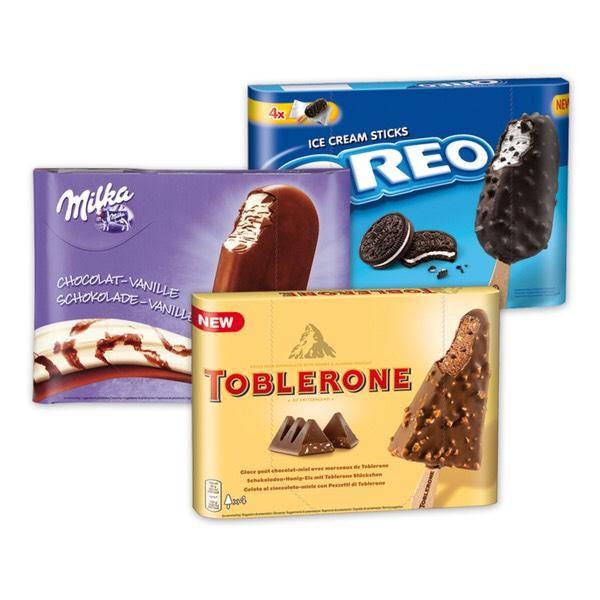 Eis am Stiel || Toblerone Oreo Milka || 2,49€ || 4x110ml || [Netto ohne Hund]