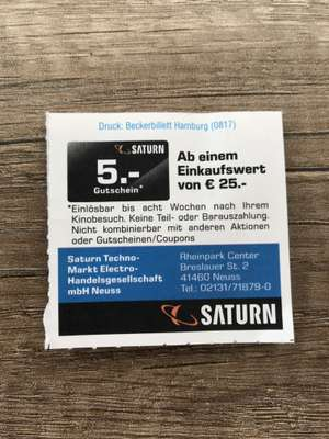 [Lokal Neuss UCI] 5€ Saturn Coupon bei 25 MBW