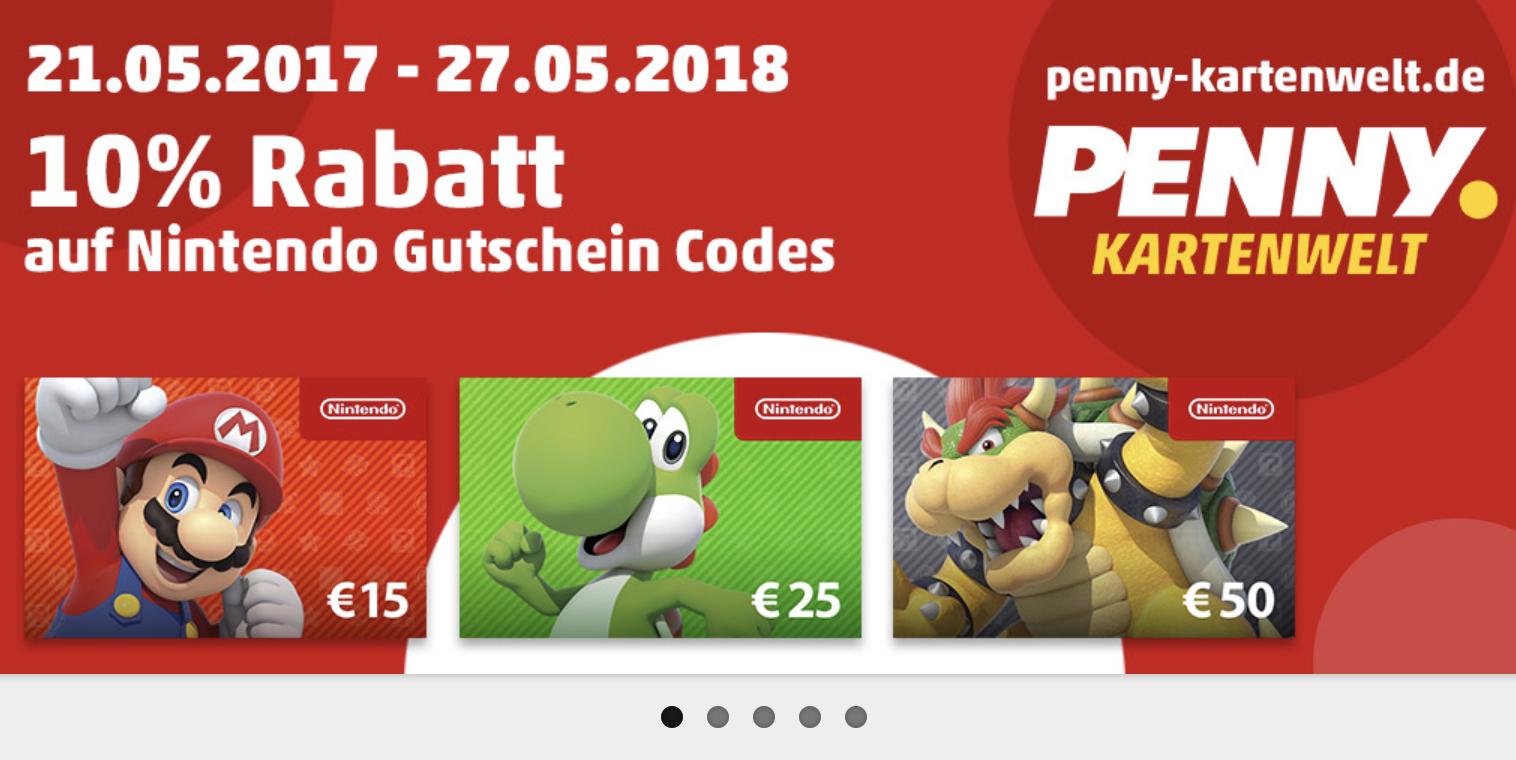 Penny Kartenwelt - 10% Rabatt auf Nintendo Guthaben