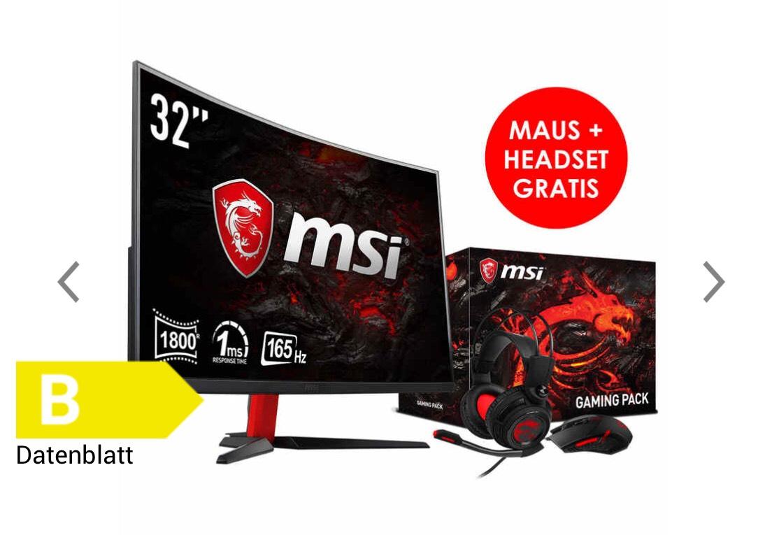MSI Optix AG32C Bundle - (31,5 Zoll), 165Hz, LED Curved Monitor, Maus + Headset GRATIS