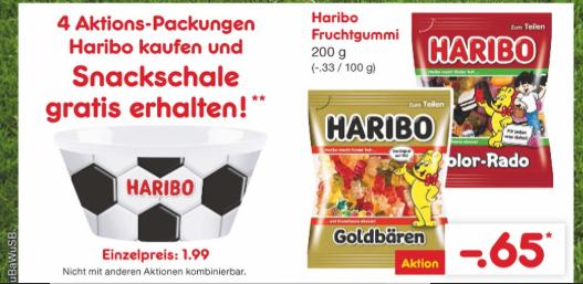 [Netto Marken Discount] 4 Packungen Haribo Gummibärchen kaufen und Snackschale gratis (ab 22.05)