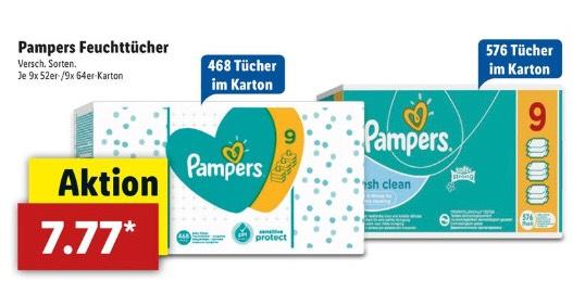 [Lidl] Pampers Feuchttücher 9x52/9x64 im Karton (0,75€ pro Packung)