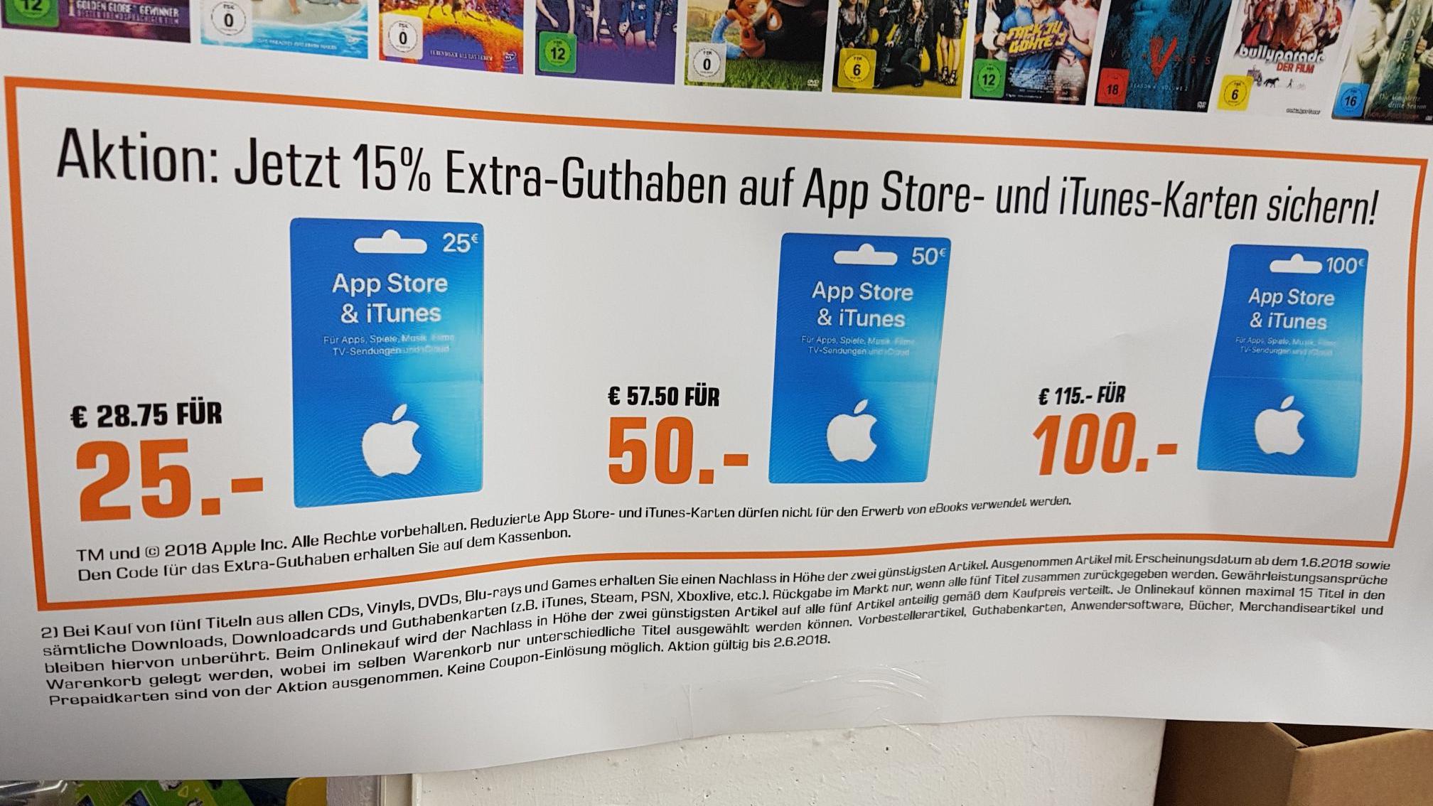 [Bundesweit Saturn] iTunes Karten mit 15% mehr Guthaben. Ggf. Mit bis zu 30% Rabatt!! (Auch Netflix möglich)