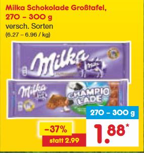 Netto: Milka 270-300g für 1,88€