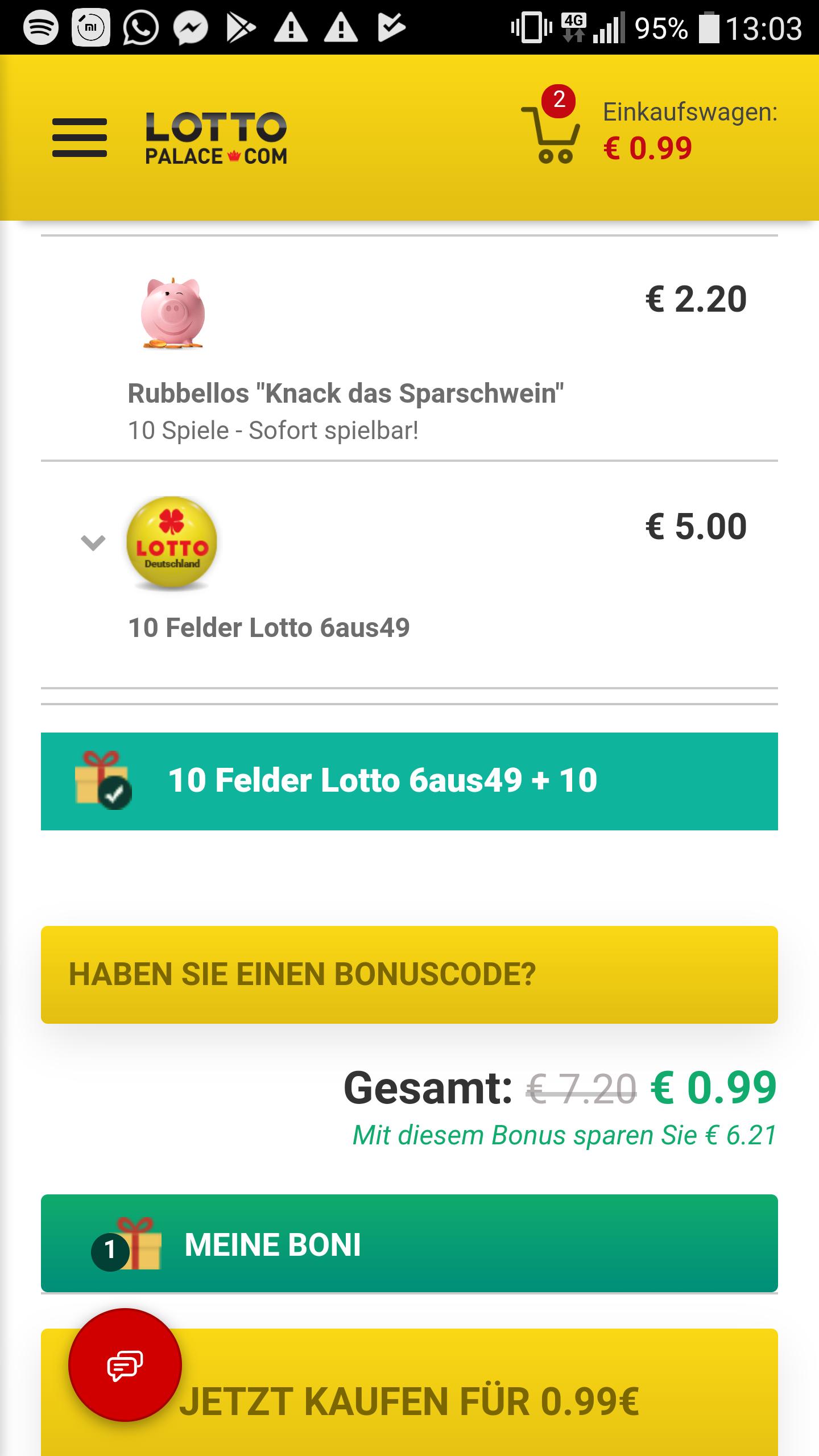 Lottopalace (Bestandkunden) 10 Felder Lotto 6aus49 + 10 rubbellose Sparschwein für 99ct
