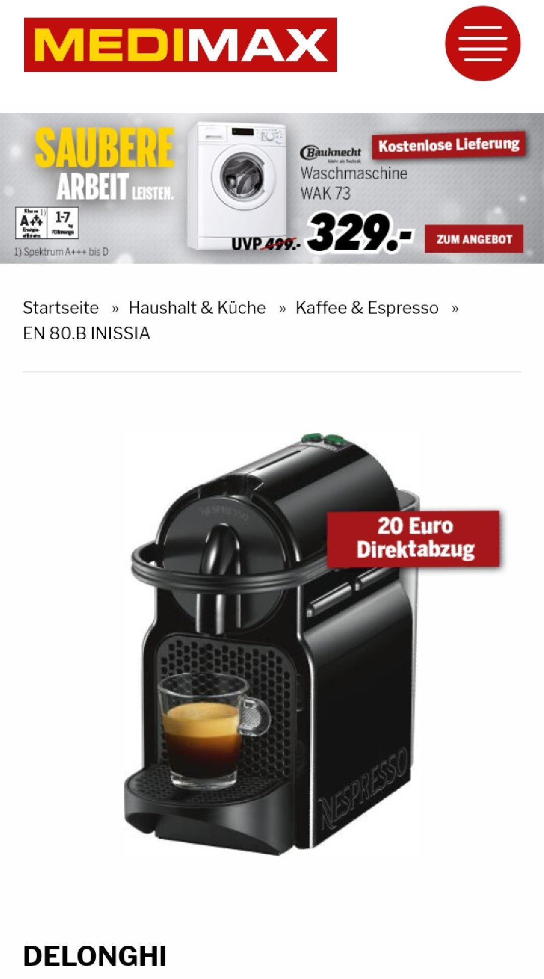[Lokal] Nespresso Krups Inissia XN1001 bei MediMax + 40€ Gutschein