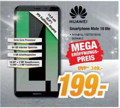 [Regional Expert-Bening Verden ab Donnerstag] Huawei Mate 10 Lite Smartphone (64GB Speicher,4GB Ram,16MP Kamera, Android 7.1 (Nougat)) Schwarz für 199,-€