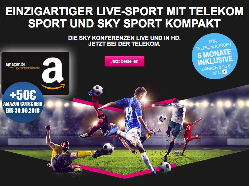 50€ Amazon Gutschein + Telekom Sport + Sky Kompakt für 59,70 Euro im ersten Jahr für Telekom-Bestandskunden!