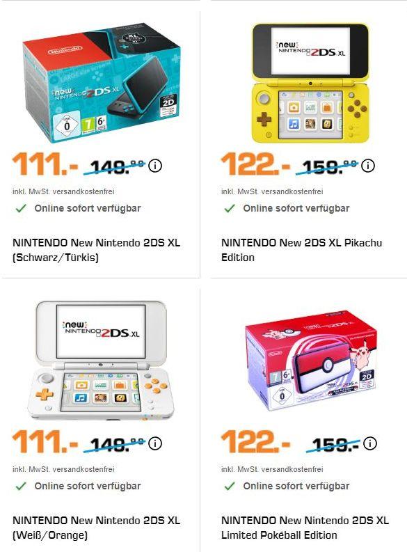 [Saturn] Nintendo New 2DS XL schwarz-türkis oder (Weiß/Orange) für je 111,-€ // NINTENDO New Nintendo 2DS XL Limited Pokéball Edition oder Pikachu Edition für je 122,-€