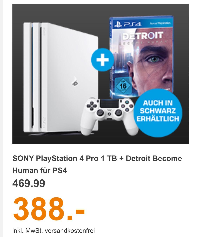 Sony PS4 Pro Schwarz oder Weiß inkl. Spiel Detroit Become Human