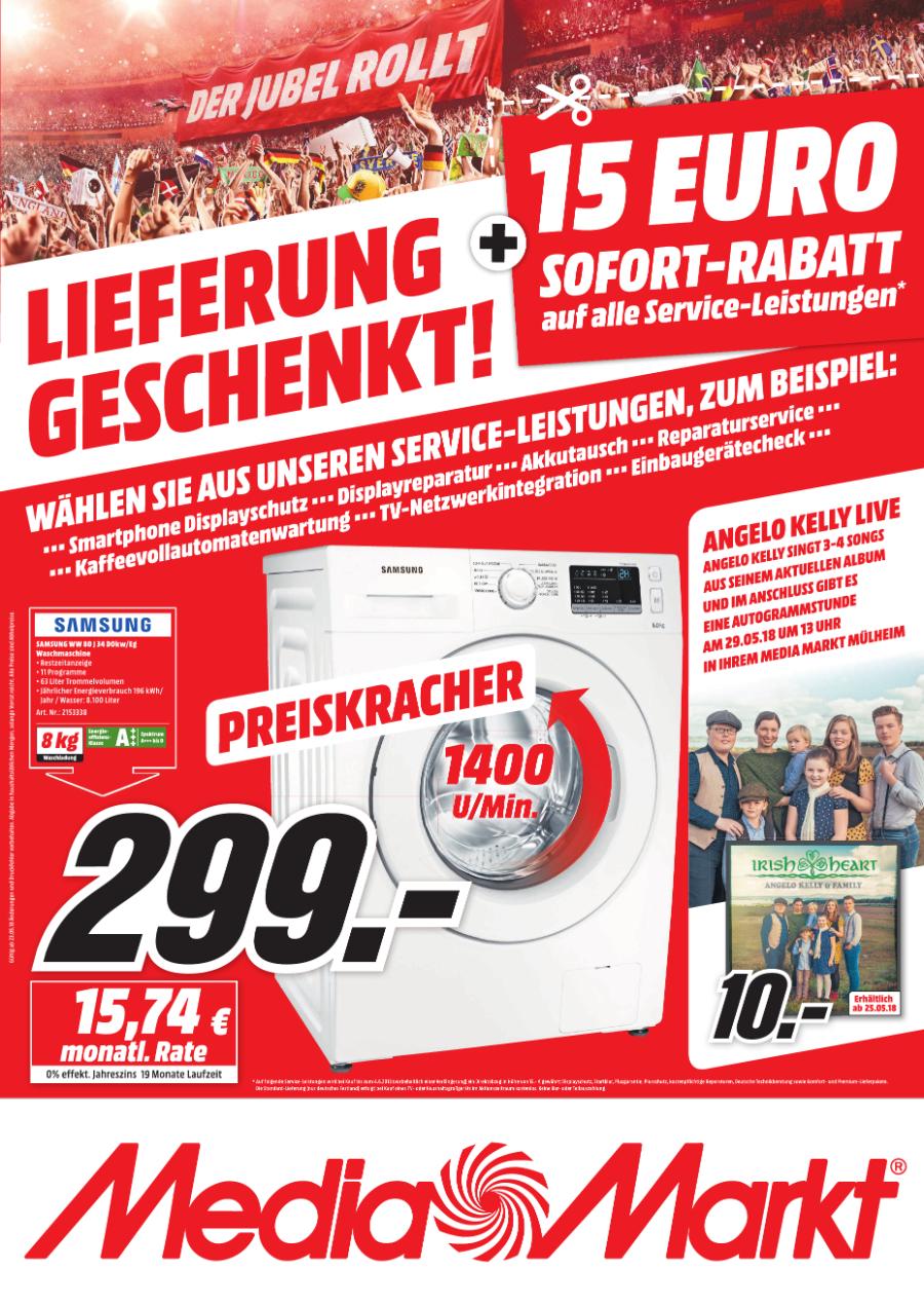 [LOKAL] MediaMarkt Mülheim - Samsung WW80J34D0KW/EG für 299,00 EUR
