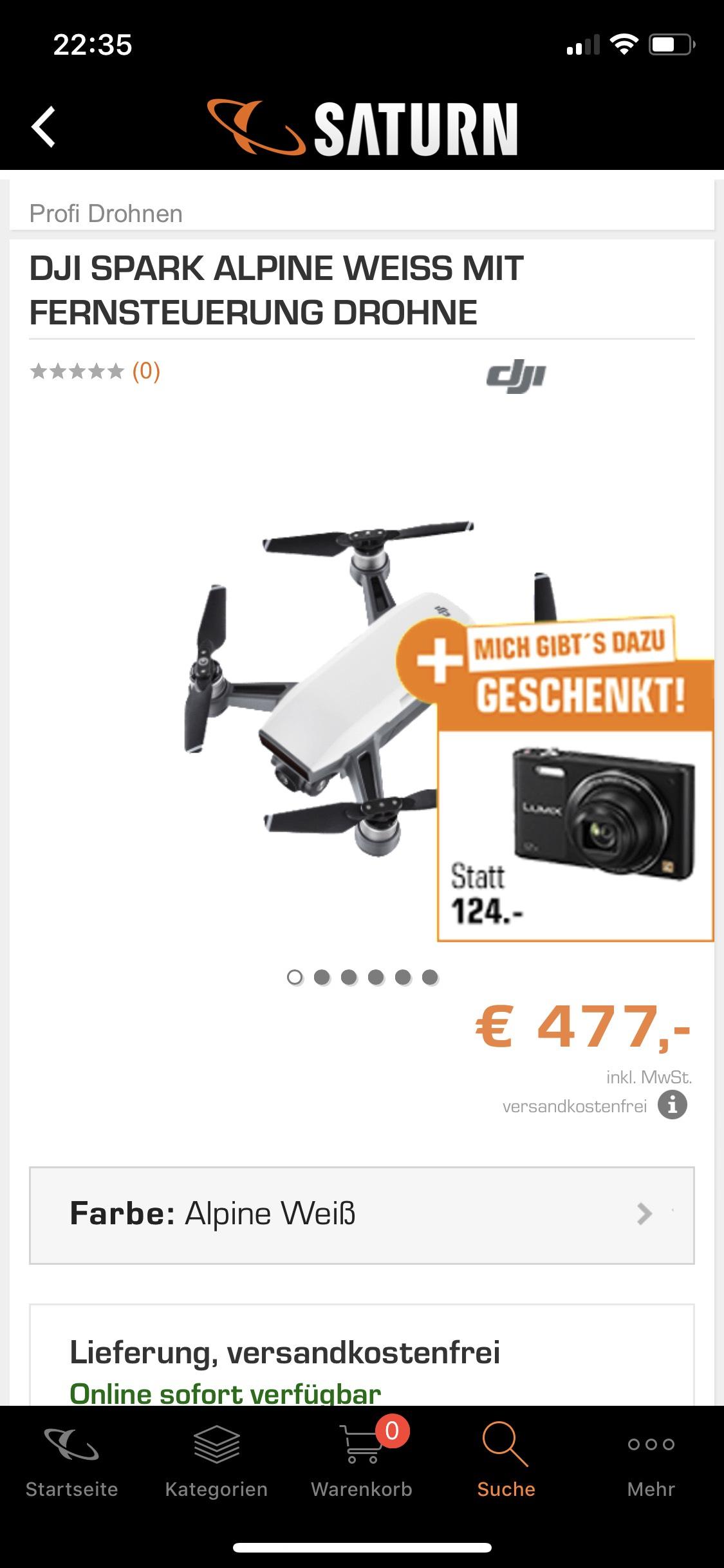DJI Spark + Fernsteuerung + Kamera SATURN online und Markt 477€ Nach Abzug Kamera UVP 353€