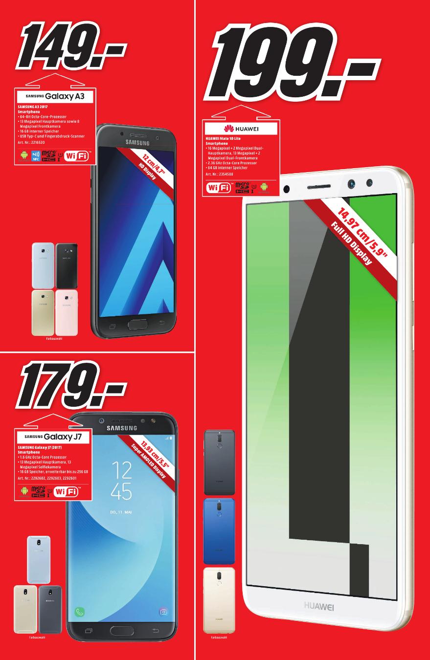 [Regional Mediamarkt Hamburg-Alle Märkte] Huawei Mate 10 Lite Smartphone (64GB Speicher,4GB Ram,16MP Kamera, Android 7.1 (Nougat)) Schwarz für 199,-€