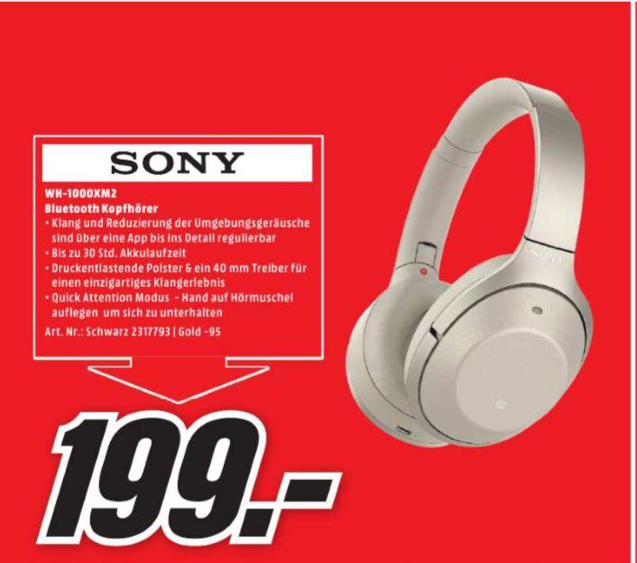[Regional Mediamarkt Pforzheim] Sony WH-1000XM2 Over Ear Kopfhörer mit Noise Cancelling und Bluetooth in Gold und Schwarz für je 199,-€