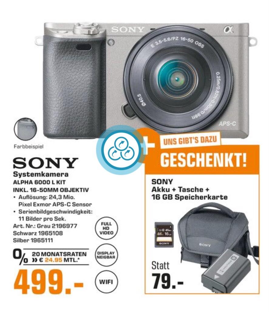 SONY ALPHA 6000 SYSTEMKAMERA + 16-50 MM OBJEKTIV + KAMERATASCHE + 16 GB SPEICHERKARTE + AKKU (von Sony) für 499,-€
