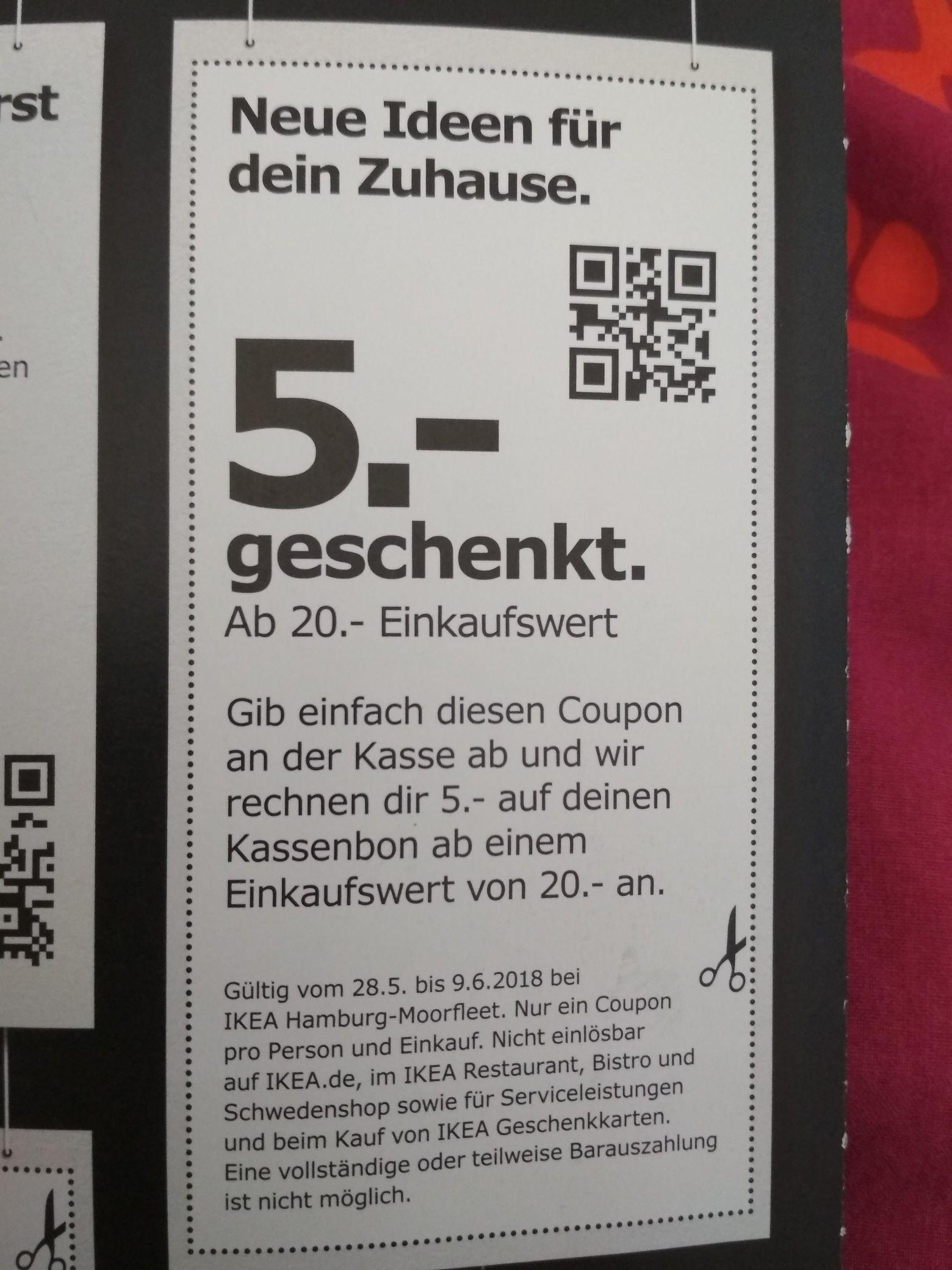 Lokal: Ikea Hamburg- Moorfleet 5€ Gutschein ab 20€ Einkaufswert
