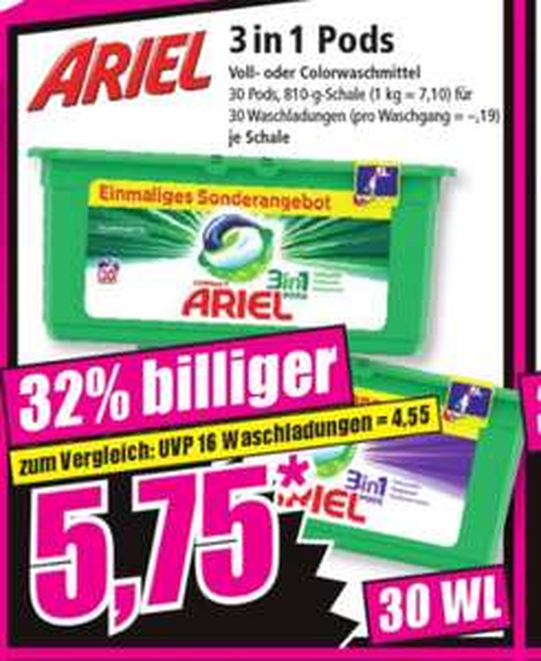 (Norma Offline) Ariel 3 in 1 Pods - 30 Waschladungen - € 0,19 je WL