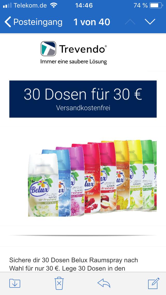 Raumspray - Duftspray für automatische Sprühsysteme 30 Dosen für 30€ ( z.B. Air Wick Freshmatic)