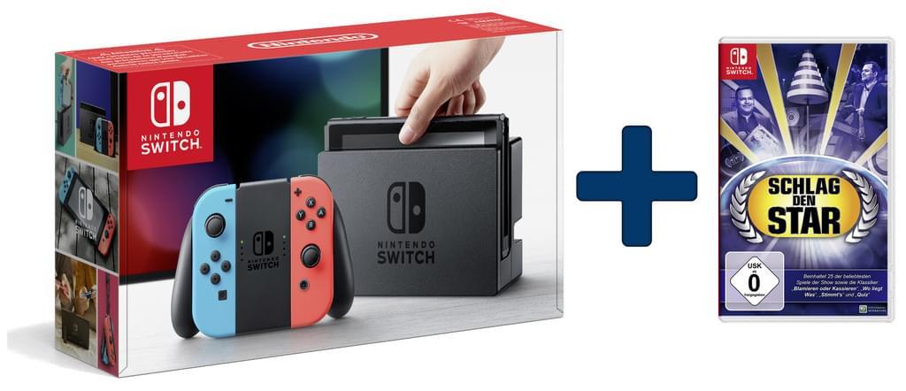 Nintendo Switch Konsole (Neon-Rot/Neon-Blau) + Schlag den Star (Switch) für 263€ Versandkostenfrei (Real)