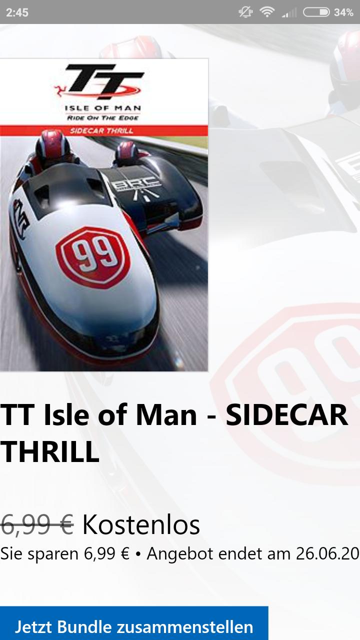 TT Isle of Man - Sidecar Thrill DLC für Xbox One bis 26.06.18 gratis statt für 6,99€ im Microsoft Store; auch für PS4 im PlayStation Store