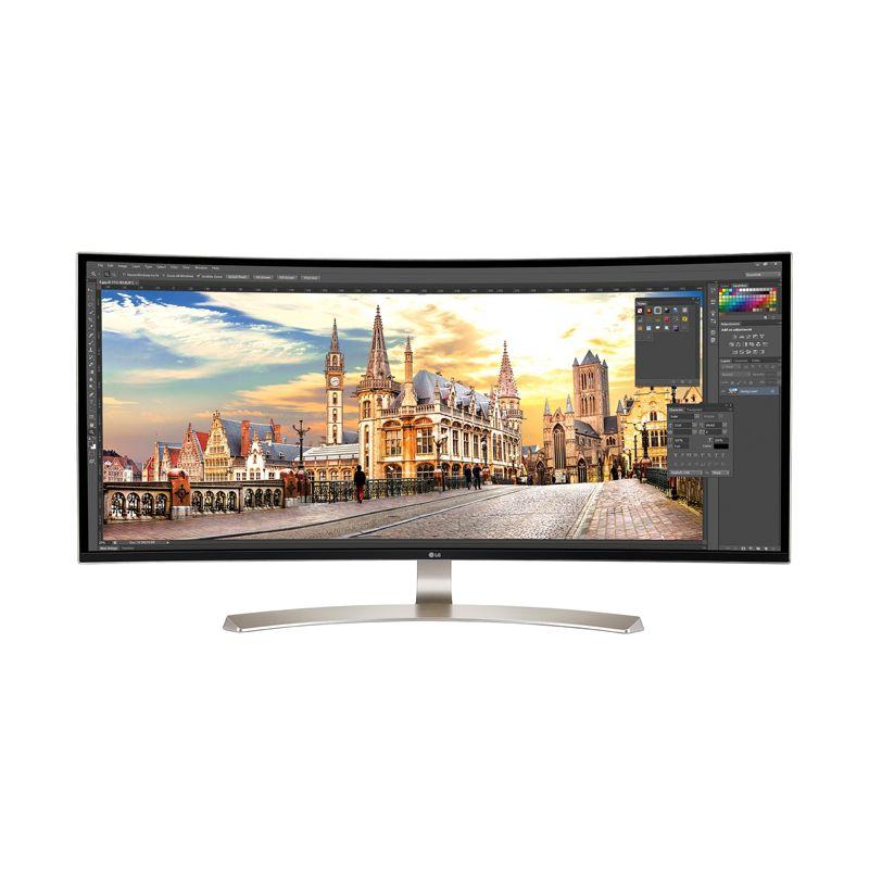 "[cyberport] LG Electronics 38UC99-W - 37,5"" UltraWide QHD+ Curved Monitor (3840x1600, 24:10, IPS, 8bit+FRC, 99% sRGB, 75 Hz, AMD FreeSync, HDMI / DP / USB-C, BT-Lautsprecher, Höhenverstellbar, VESA, Software-KVM-Switch)"