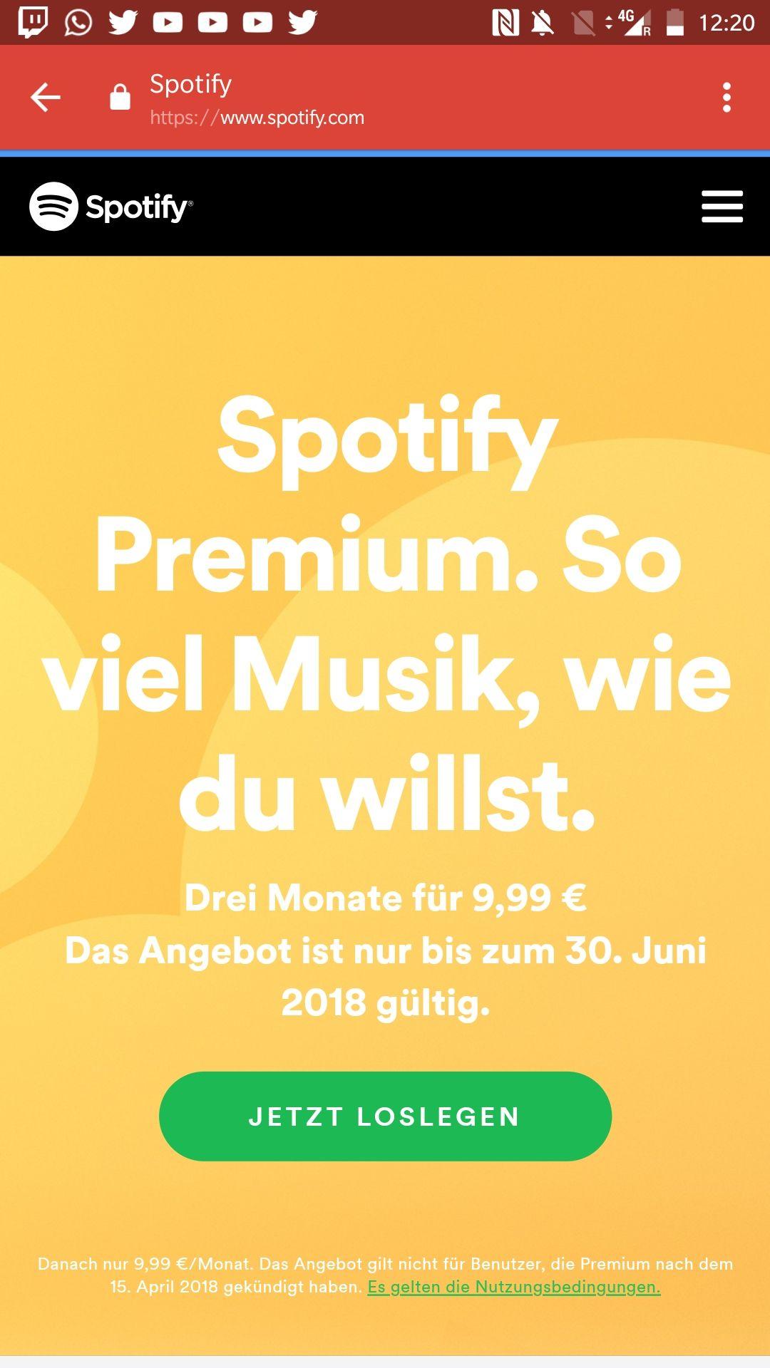 Spotify Premium 3 Monate für 9,99
