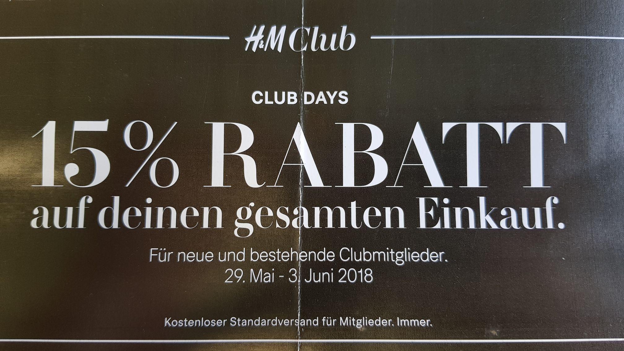 H&M Club  -15% (außer Geschenkkarte)