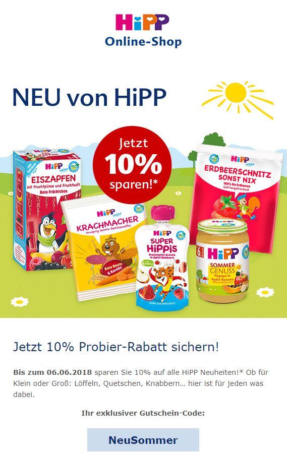 10% Probier-Rabatt im HiPP Online-Shop