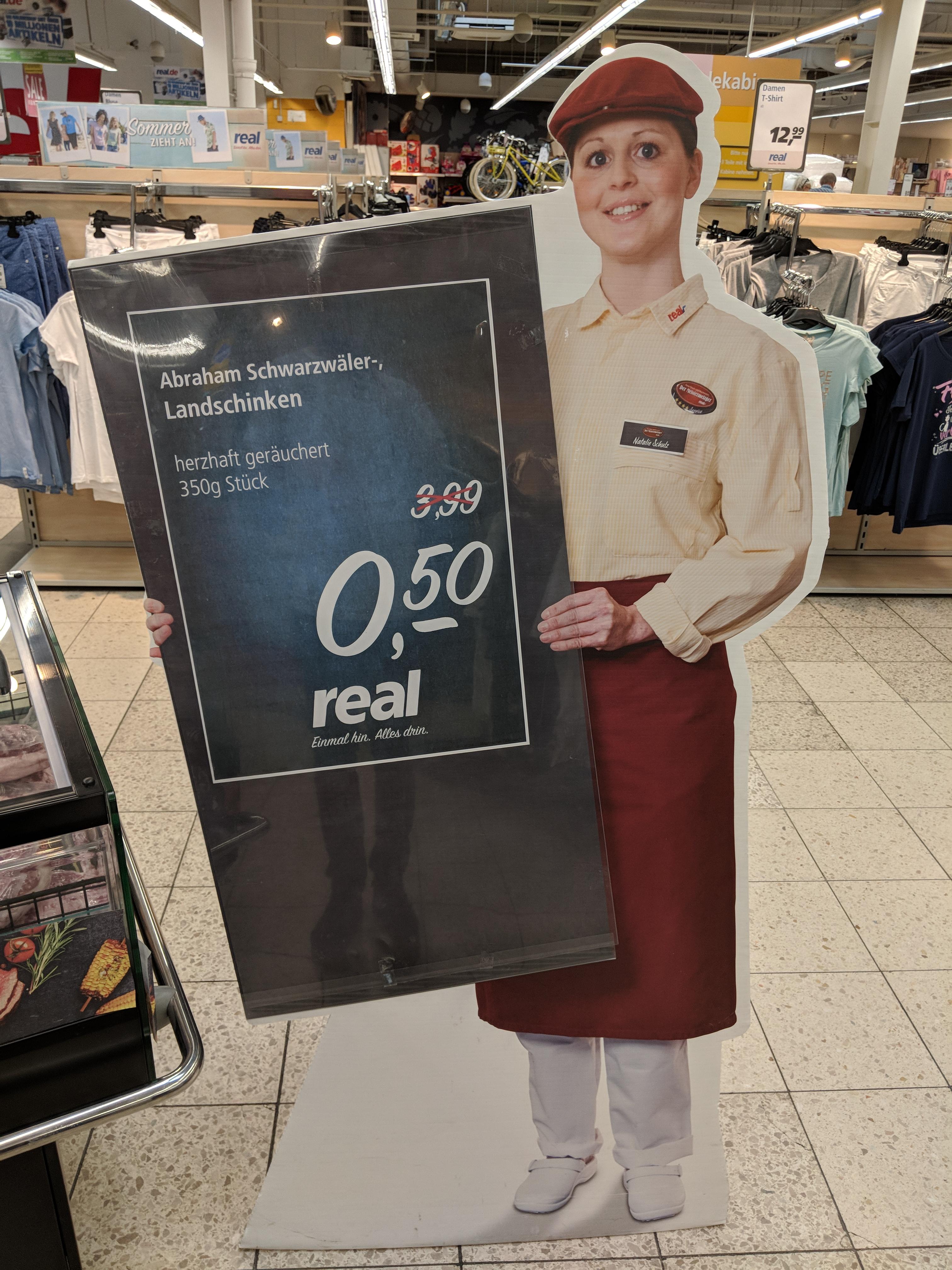 [LOKAL REAL Nordwalde bei Münster] 350g Abraham Schwarzwälder-Landschinken für 50 Cent und Joghurt-Schnitte unterschiedliche Sorten für 50 Cent