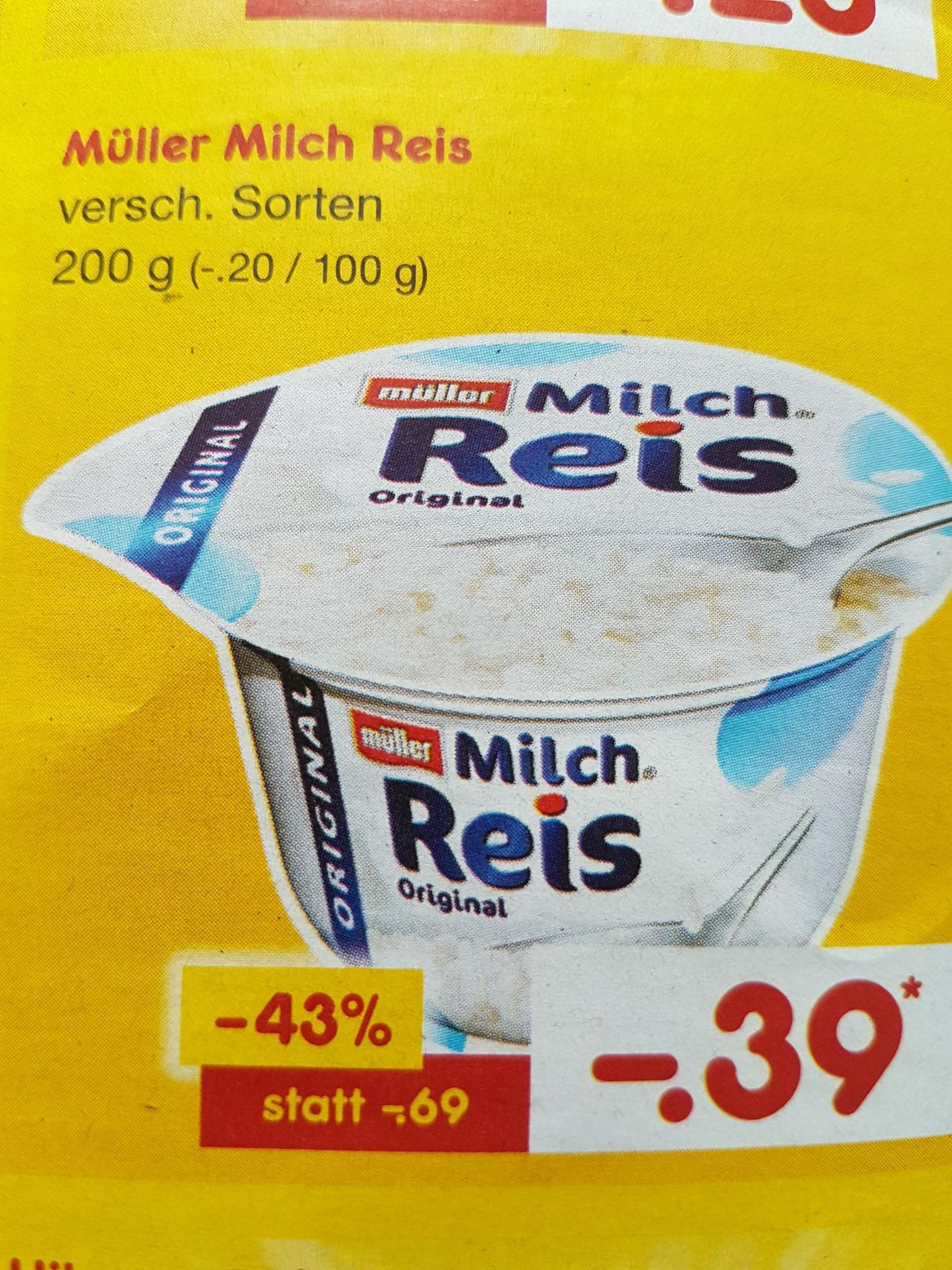 Müller Milch Reis für 0.39€ statt 0.69€ (Netto Marken-Discount)