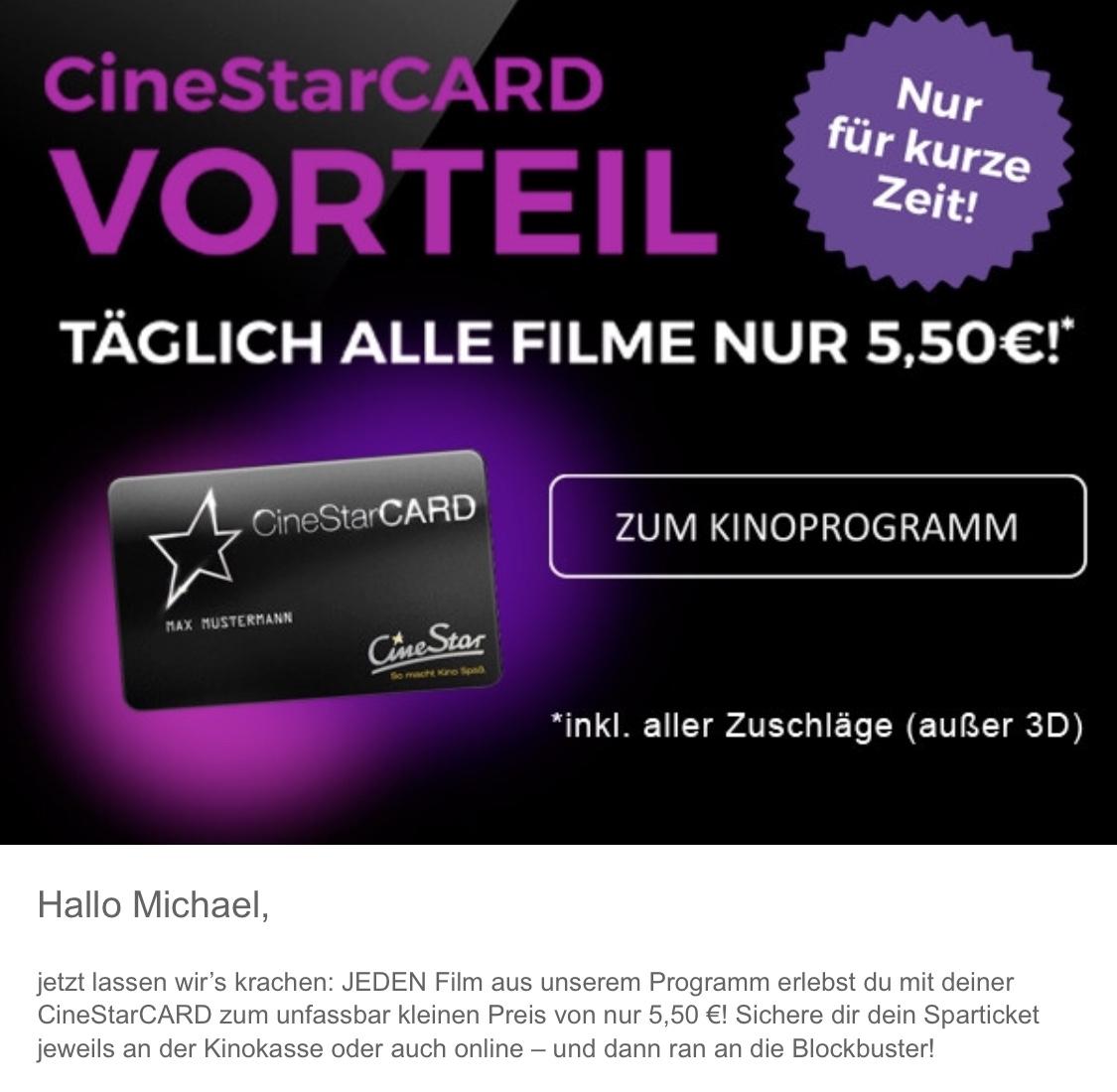 Lokal: Cinestar Bremen + Bielefeld - alle Filme für 5,50 Euro mit der Cinestar-Card