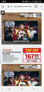 "Toshiba 32L3763DA 32"" Zoll Smart TV, [Metro]"