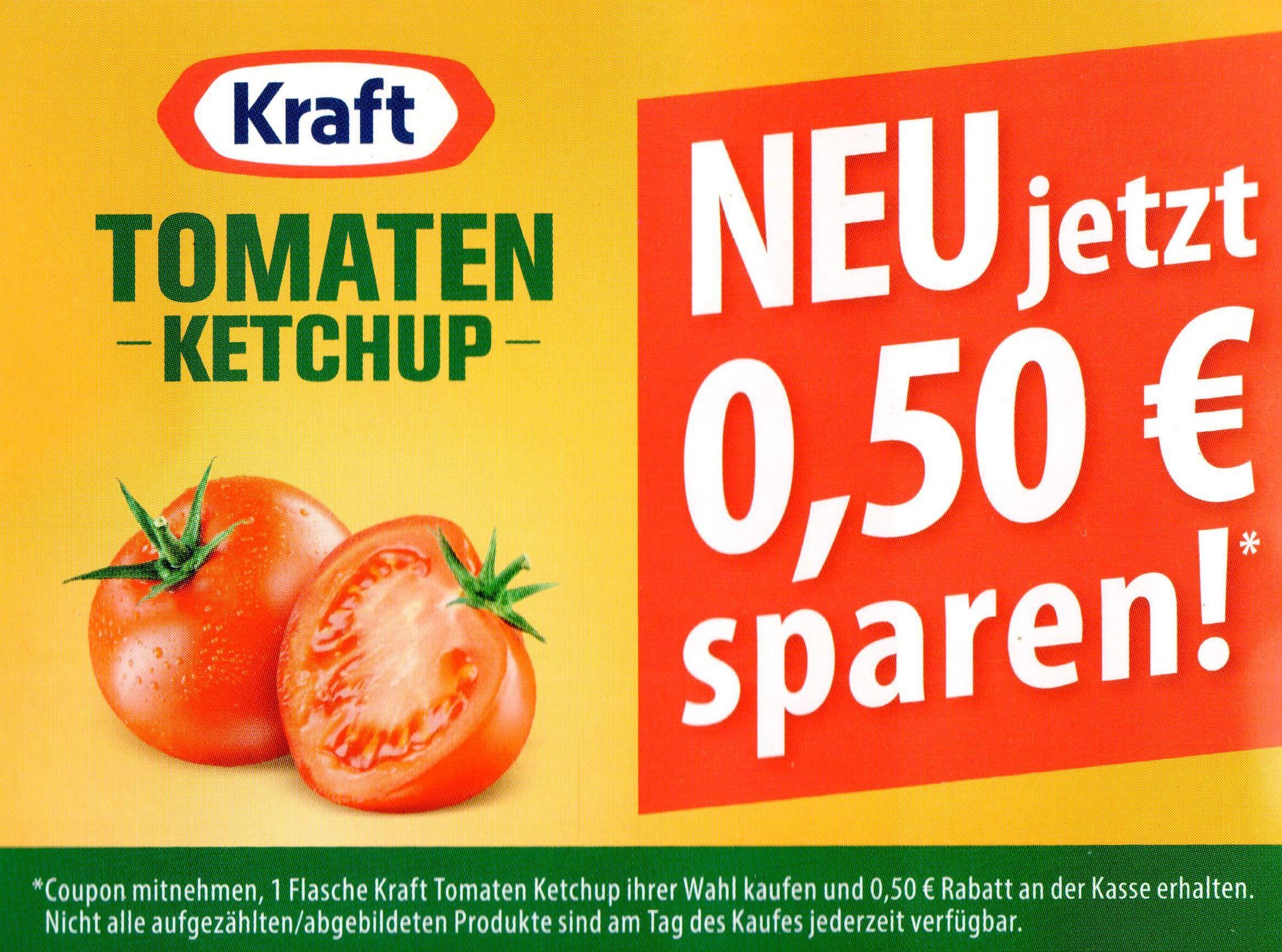 Kraft Tomaten Ketchup (alle Größen/Sorten) -0,50€ Coupon bis 30.06.2018 [bundesweit]