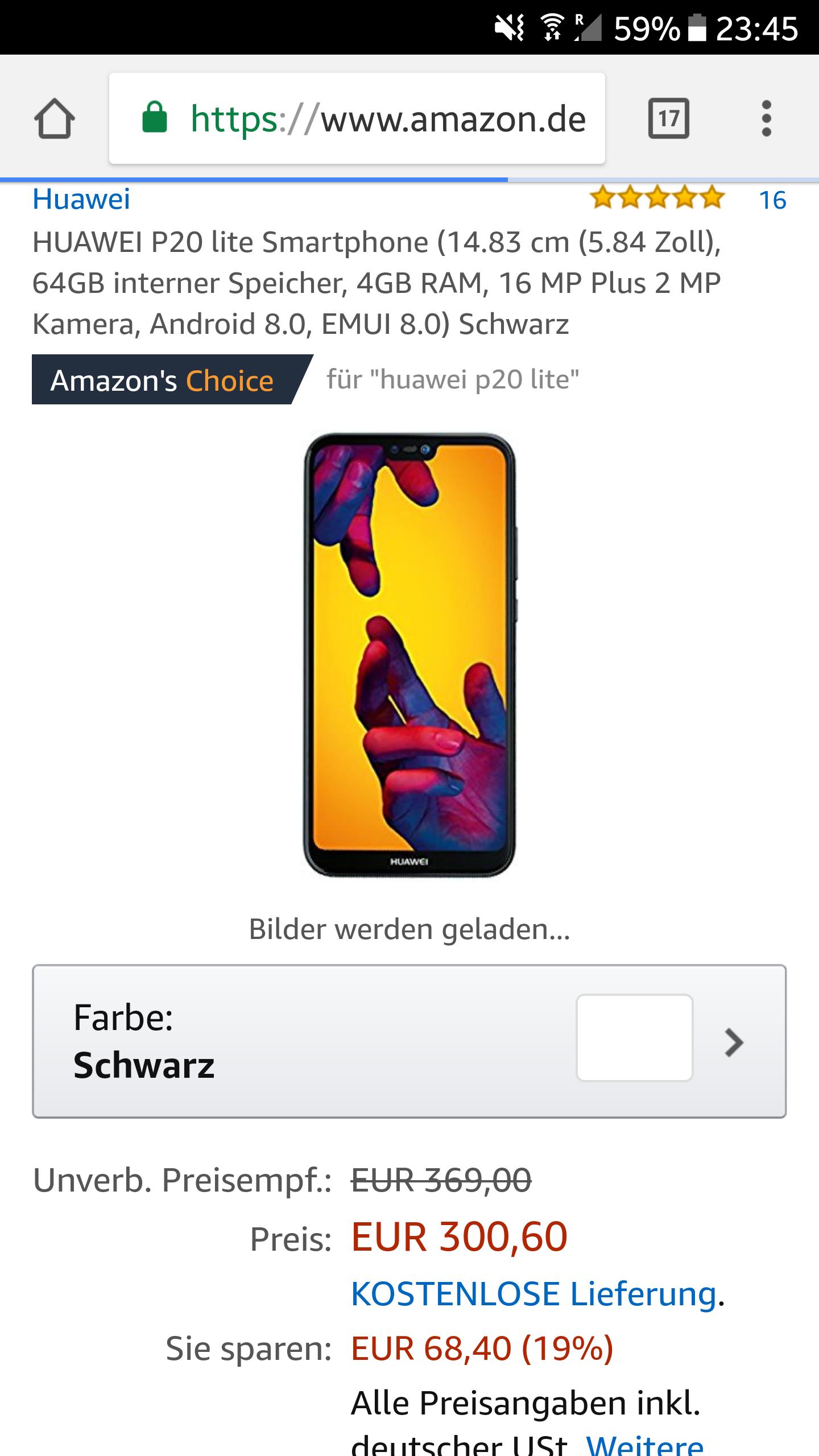 Huwei P20 Lite bei Amazon für 300€