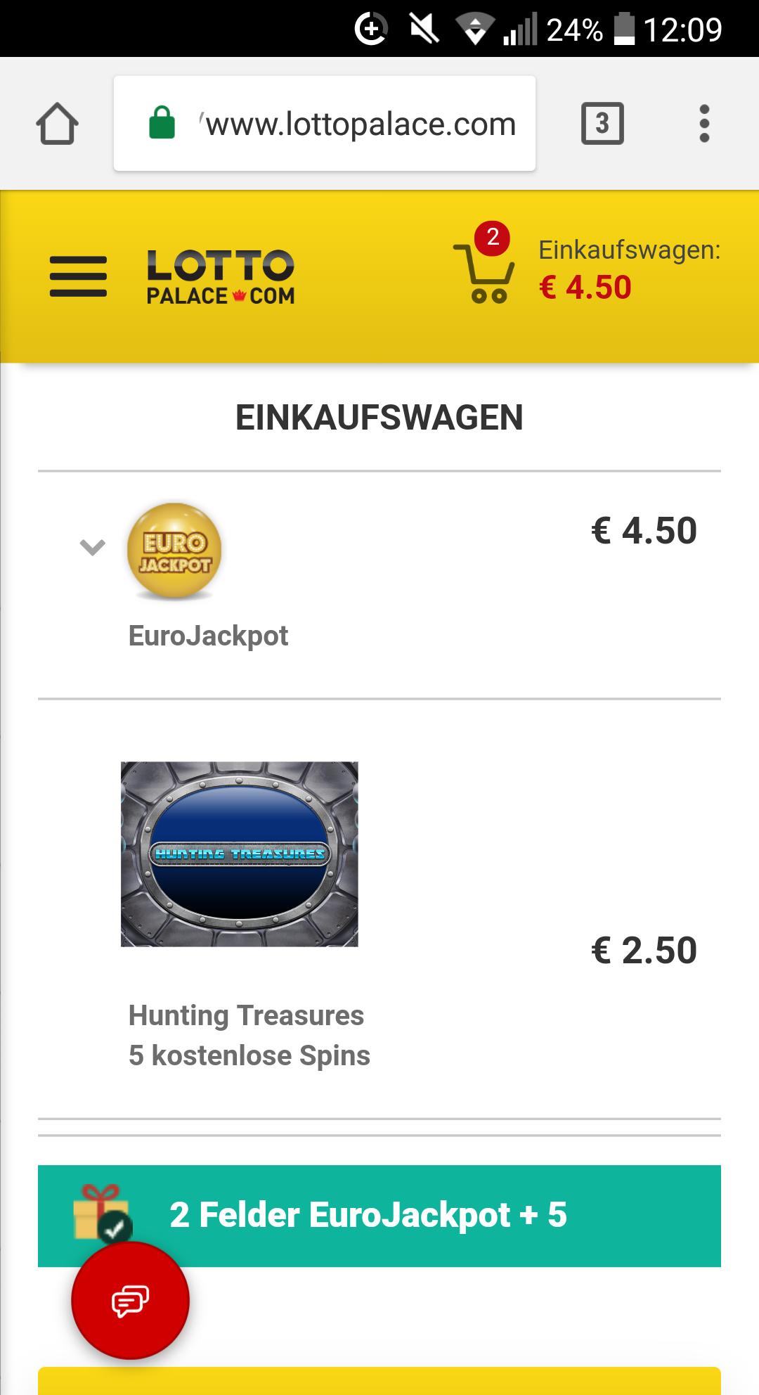 Lottopalace 2 Felder Eurojackpot + 5 Freispiele