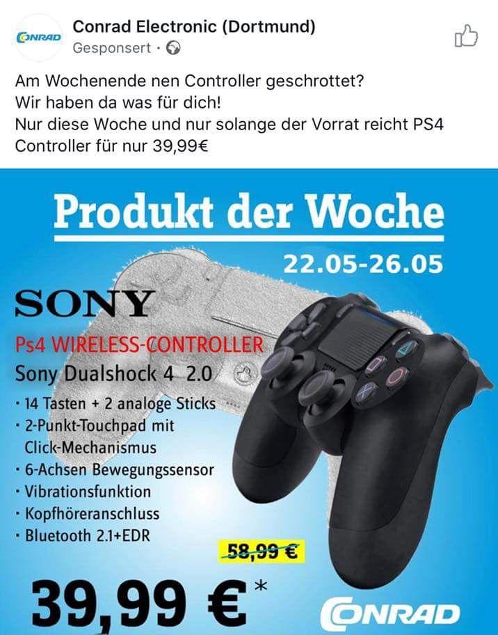 Lokal ?? Conrad Electronic Dortmund: Sony Dualshock 4 v2 PS4 Controller für 39,99€