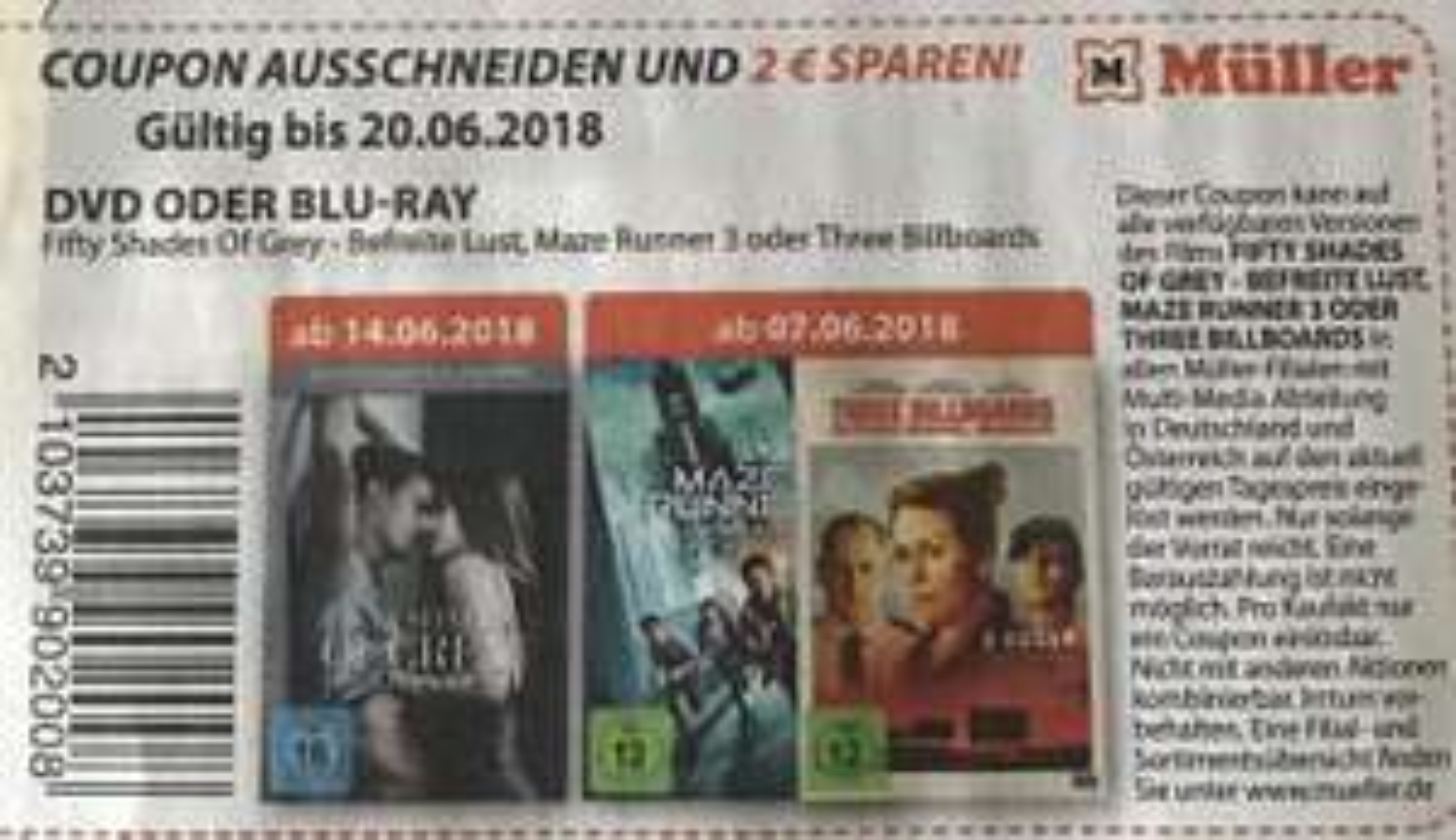 [Müller] 2€ Rabatt auf Three Billboards, Maze Runner 3, Fifty Shades of Grey