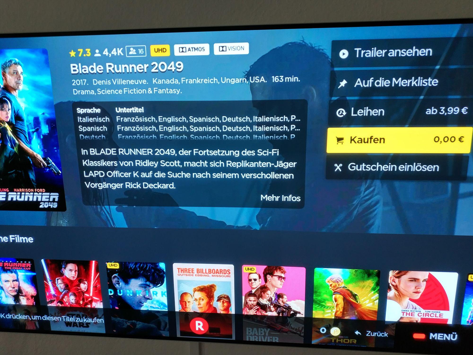 Rakuten.tv ein UHD Leih Film gratis für Neukunden (Smart TV App) danach bekommt man noch einen weiteren Gutschein!