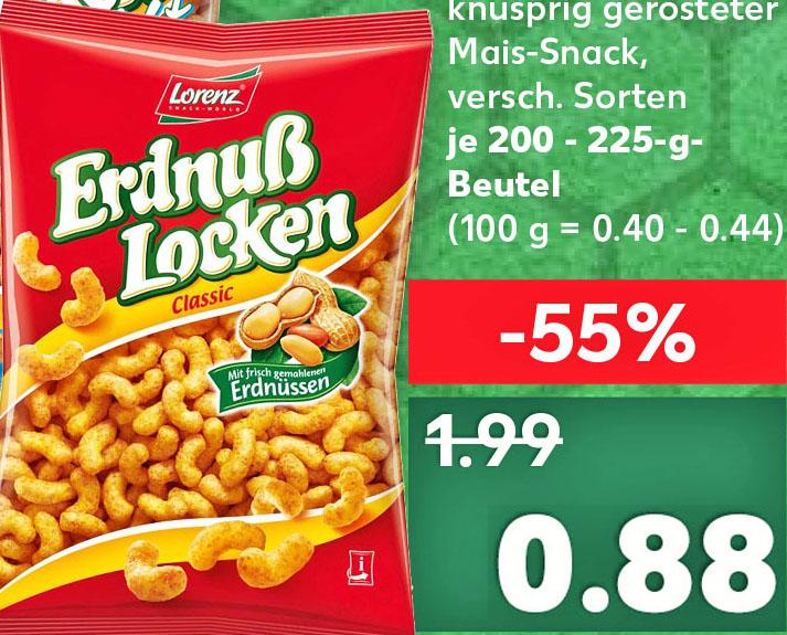 (Kaufland ab 1.6.) Lorenz Erdnuss-Locken nur 88 Cent und Pringles nur 1,29€