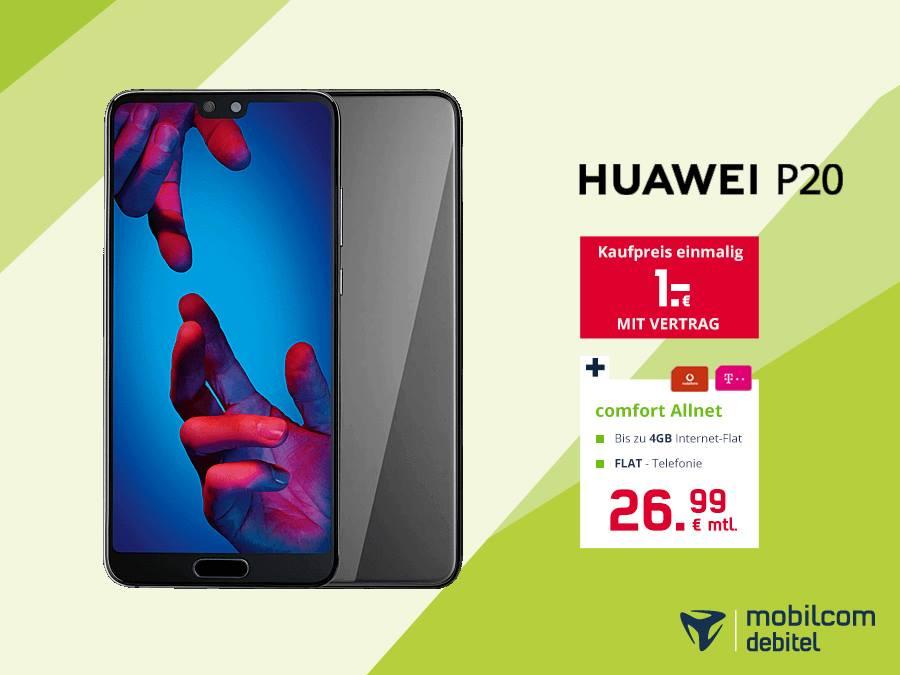 Huawei P20 mit Allnetflat und 4gb Datenvolumen für 26,99€ mtl [Offline Mobilcom-Debitel]