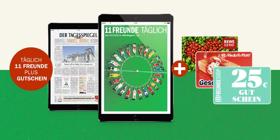 TAGESSPIEGEL e-Paper Aktion + 25€ REWE, Media-Markt oder 11 Freunde Gutschein