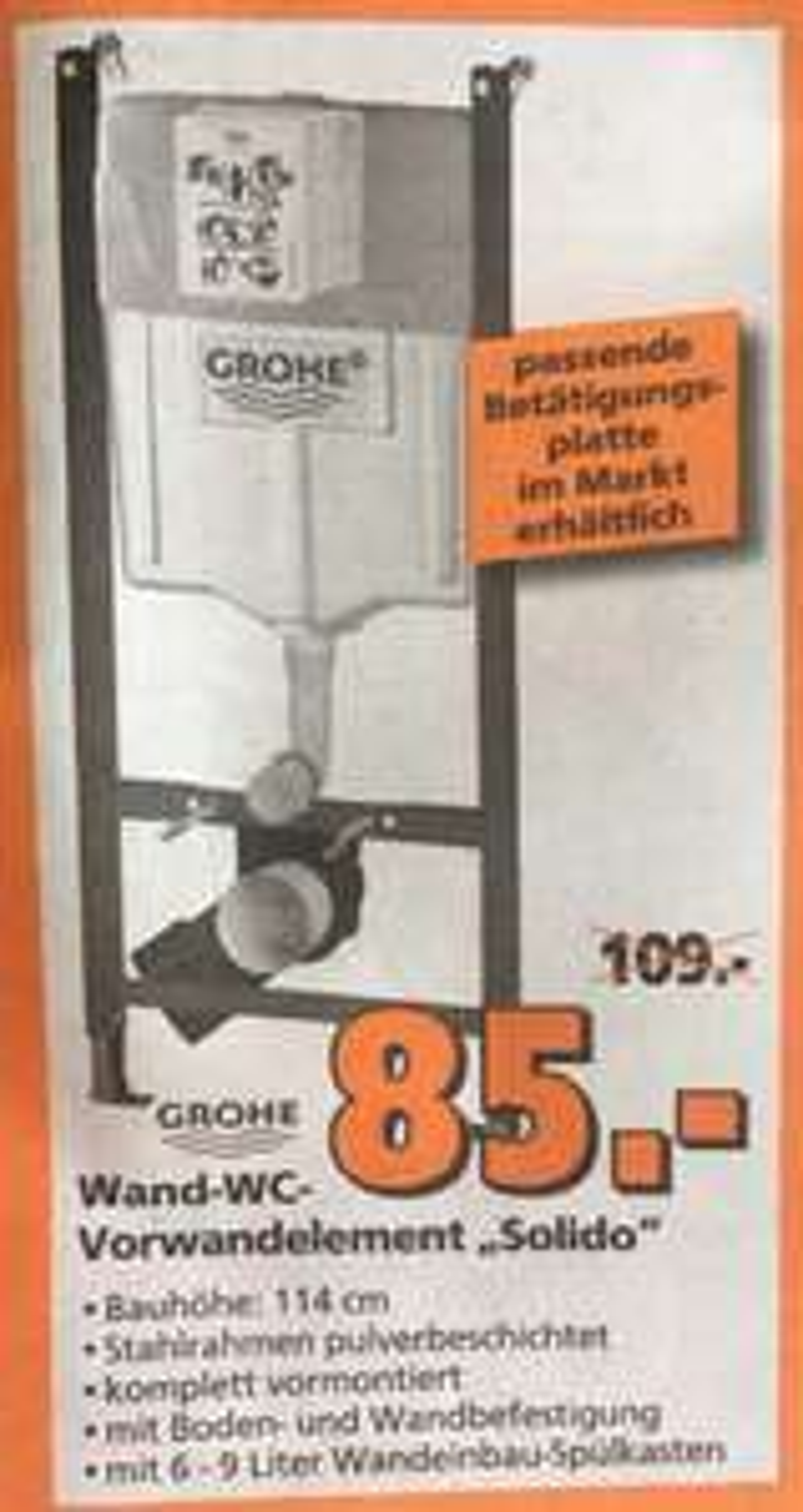 """Grohe """"Solido"""" Wand-WC-Vorwandelement bei Bauhaus für 74,80€ durch TPG"""
