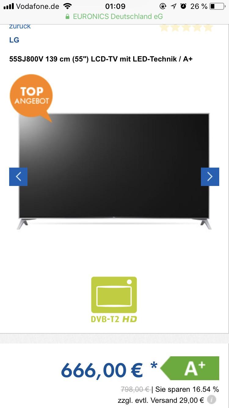 """Euronics LG 55SJ800V 139 cm (55"""") LCD-TV mit LED-Technik"""