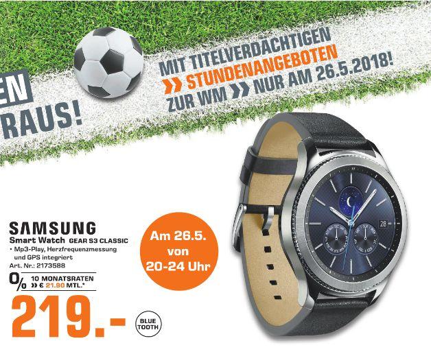 [Regional Saturn Bielefeld am 26.Mai von 20.00 - 24.00 Uhr] Samsung Gear S3 classic (3,3 cm (1,3 Zoll) Display, NFC, Bluetooth, WLAN, Tizen OS), mit Echtleder-Armband für 219,-€