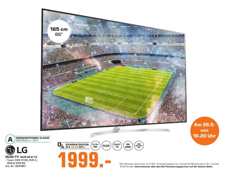 [Regional Saturn Bielefeld am 26.Mai von 18.00 - 20.00 Uhr] LG OLED65B7D 164 cm (65 Zoll, OLED) Fernseher (Ultra HD, Doppelter Triple Tuner, Active HDR mit Dolby Vision, Dolby Atmos, Smart TV) [Energieklasse A] für 1999,-€