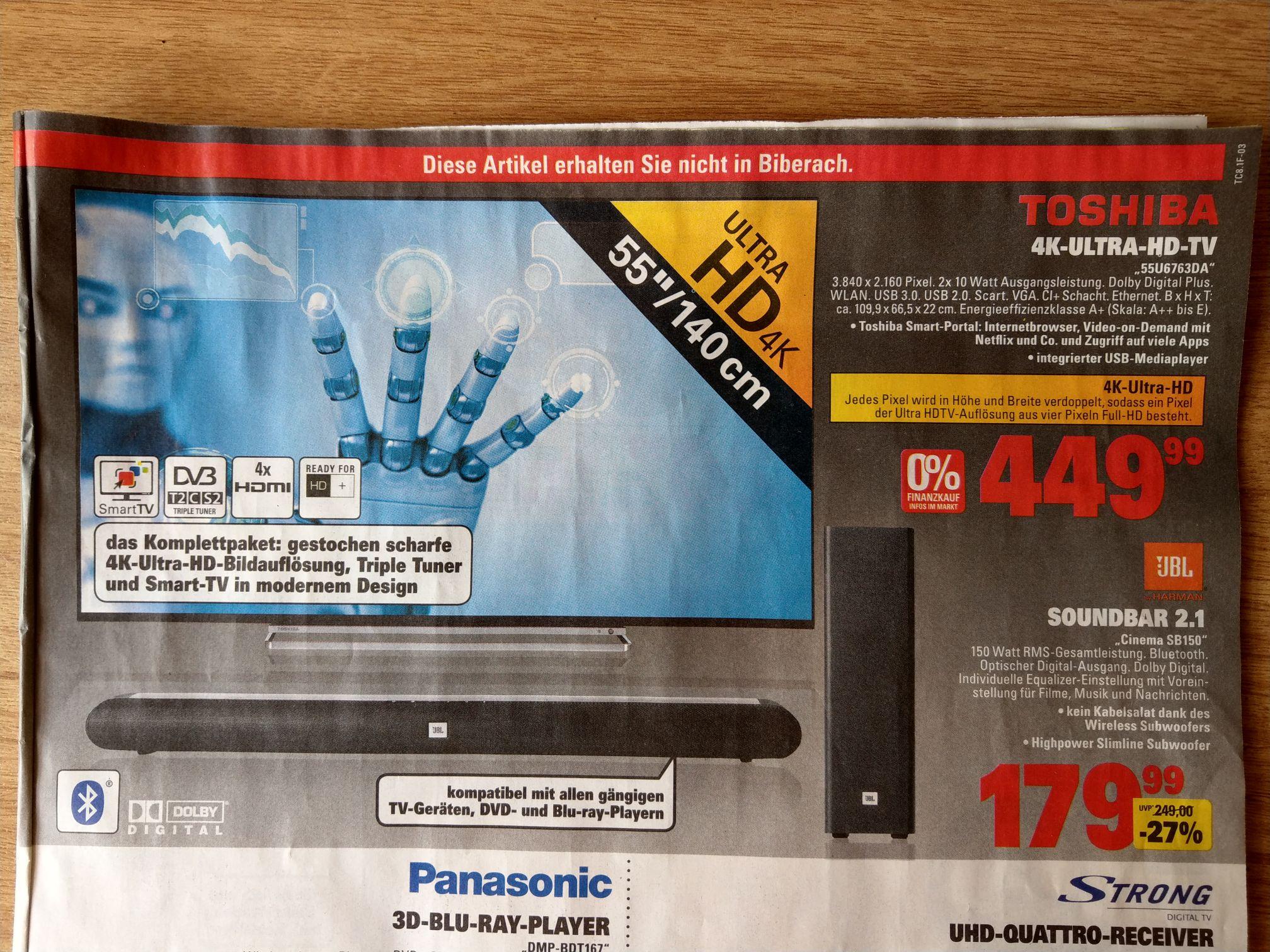 [Marktkauf] [ab 28.05.] [nur BW?] 55 Zoll Toshiba 4K TV 55U6763DA für 450